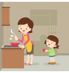 girl and mother cooking in the kitchen vector image