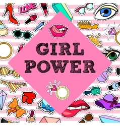 Girl Power Poster banner with Patch Badges vector image