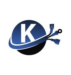 global electricity letter k vector image