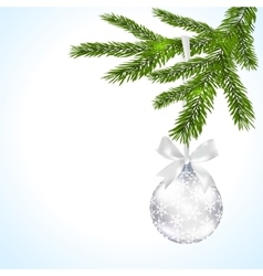 Green tree branch with silver ball and ribbon on a vector image vector image