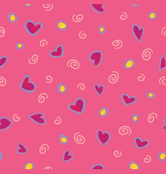 pattern red hearts on rose background vector image vector image
