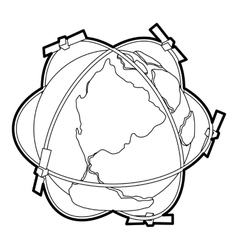 Satellite system around earth icon outline style vector