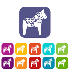 toy horse icons set vector image