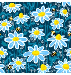 bees and camomile vector image