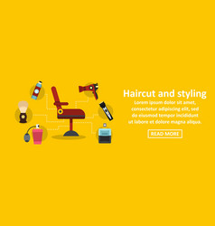 haircut and styling banner horizontal concept vector image vector image