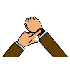 hand man business smart watch apps gadget vector image