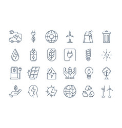 outline eco icons vector image