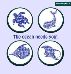 set of sea logos vector image vector image