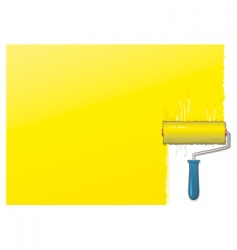 yellow paint roller background vector image vector image