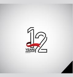 12 years anniversary logotype simple design vector