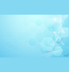 abstract blue geometric hexagon shape background vector image
