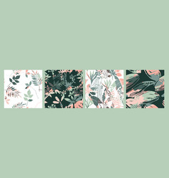 abstract floral seamless patterns with trendy hand vector image