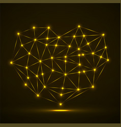 abstract neon geometric heart lines and dot vector image
