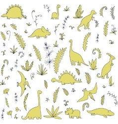 Abstract seamless pattern with dinosaurs vector