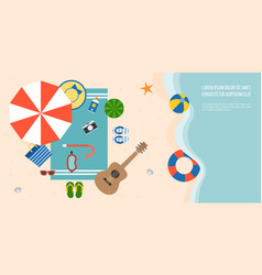 Aerial view summer beach and sea with parasol vector