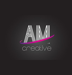 Am a m letter logo with lines design and purple vector