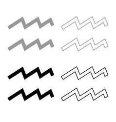 Aquarius symbol zodiac icon outline set grey vector