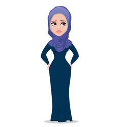 Arabic business woman cartoon character vector