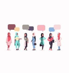 Arabic women in hijab chat bubble speech arab vector