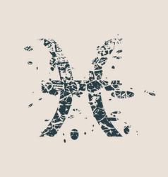 astrology symbols fish sign vector image