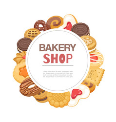 bakery shop cookies and waffers sweet pastry vector image