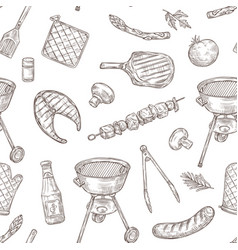 barbecue seamless pattern sketch chicken vector image