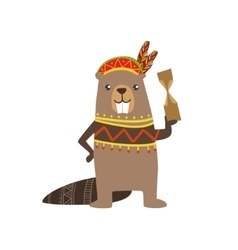Beaver Wearing Tribal Clothing vector image