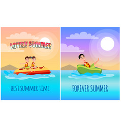 best summer time poster cartoon vector image