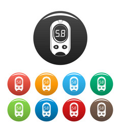 Blood glucose meter icons set color vector