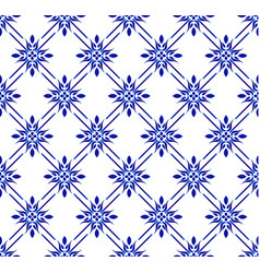 Blue and white floral pattern vector