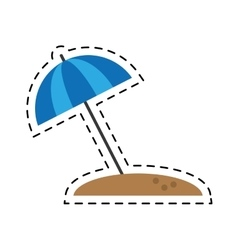 Blue beach umbrella parasol sun vacation cutting vector