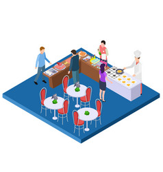 buffet breakfast restaurant 3d isometric vector image