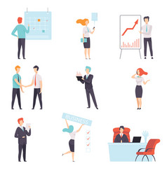 Businesspeople set successful business characters vector