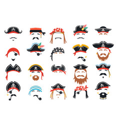 Carnival pirate mask decor photo booth props vector