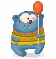 cartoon bear in a striped suit holds a balloon vector image