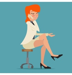 Cartoon Business Woman Happy Smiling Lady vector image