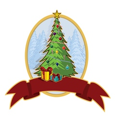 Cartoon christmas tree banner with copy space vector