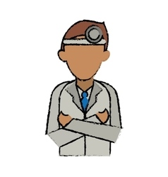 cartoon doctor crossed arms wearing head mirror vector image