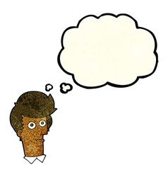 Cartoon staring face with thought bubble vector