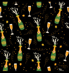 Champagne bottles and glasses pattern vector