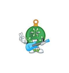 Character with guitar in green christmas ball vector