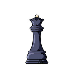 Chess black queen flat icon vector