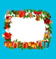 christmas and new year blank frame vector image