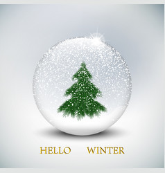 christmas snow globe with christmas tree on vector image