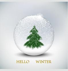 Christmas snow globe with christmas tree on vector