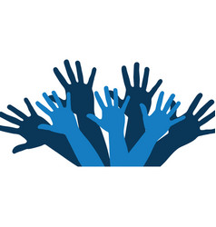 Color silhouette with support hands in blue vector