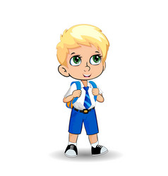 Cute little blonde school boy with big green eyes vector