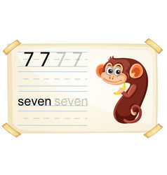 Cute monkey number seven vector