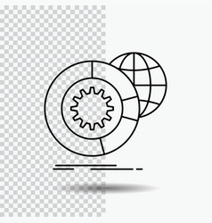 data big data analysis globe services line icon vector image