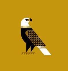 decorative falcon on ochre background vector image